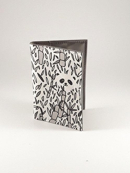 Porte cartes chouettes pandas en toile enduite