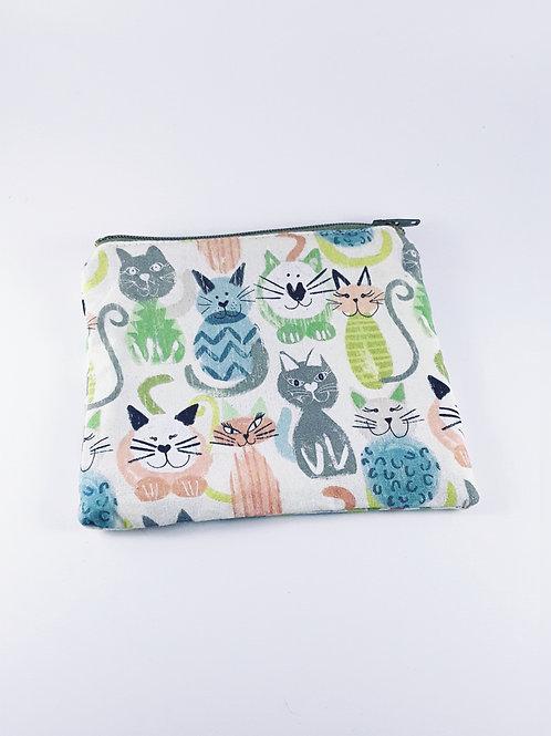 Porte monnaie tissu / petite trousse zippée chats