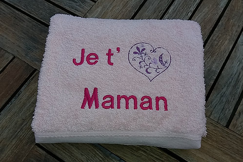 Grande serviette brodée avec un prénom, message, ou motif