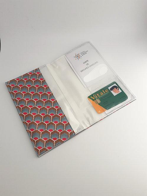 Pochette intermédiaire porte carte vitale  ordonnance en toile cirée hexagone