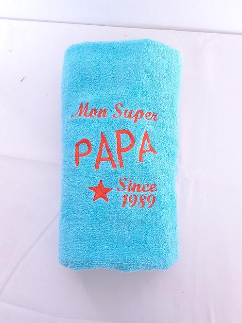 Grande serviette brodée Mon super Papa since 1989