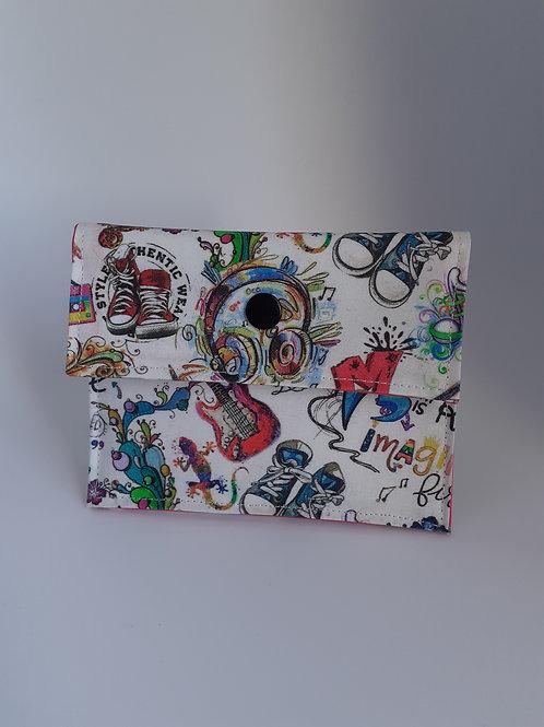 Mini pochette en coton enduit theme pop art rock basket
