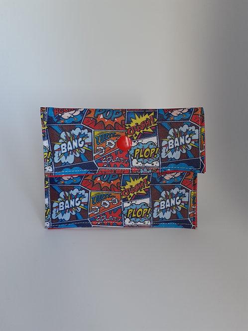 Mini pochette en coton enduit thème BD Boom Bang