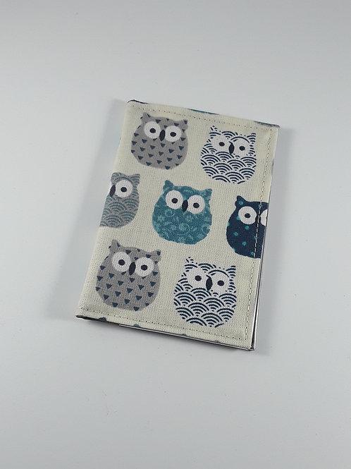 Porte cartes chouettes bleues en toile enduite