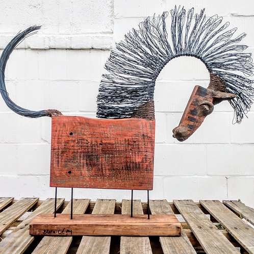 recycled wood horse