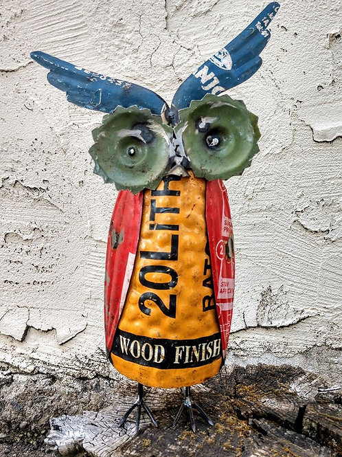 owl made from old signs