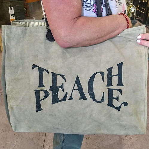 recycled military tent PEACE bag**IN STORE PICK UP ONLY**