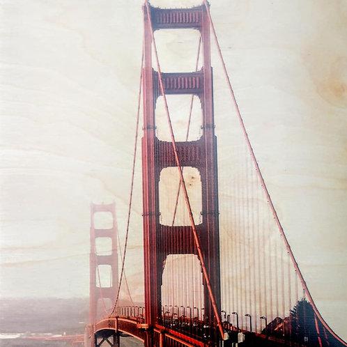 golden gate bridge on 12 x 12 piece of wood