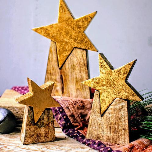 gold leafed wood stars