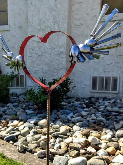 heart made from wine barrel rim and spoons**IN STORE PICK UP ONLY**