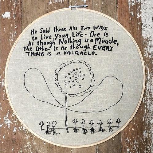 """embroidered art on 19"""" hoop"""