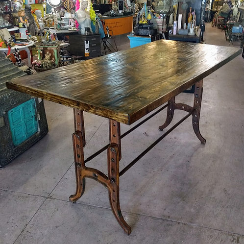 table made from recycled metal and wood    **IN STORE PICKUP ONLY**