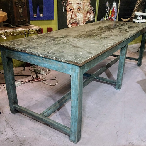 massive custom table with a galvanized metal top    **IN STORE PICKUP ONLY**