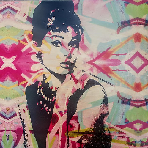 audrey on 12 x 12 piece of wood