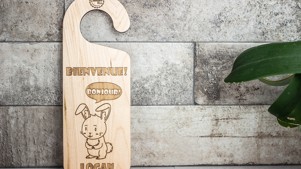 Personalized Wooden Door Hanger - Rabbit