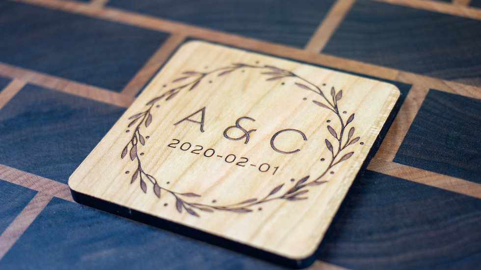 Personalized Wooden Coasters - Wedding - Traditional 02