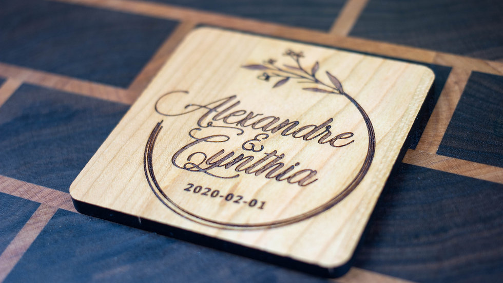 Personalized Wooden Coasters - Wedding - Traditional 05