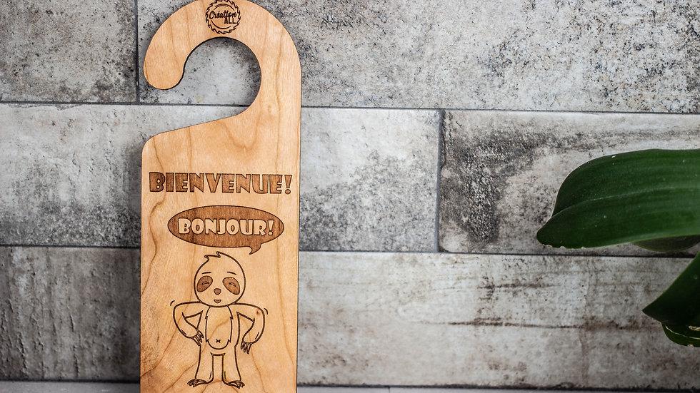 Personalized Wooden Door Hanger - Sloth