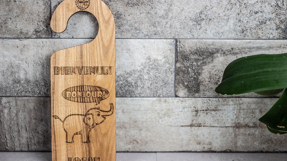 Personalized Wooden Door Hanger - Elephant