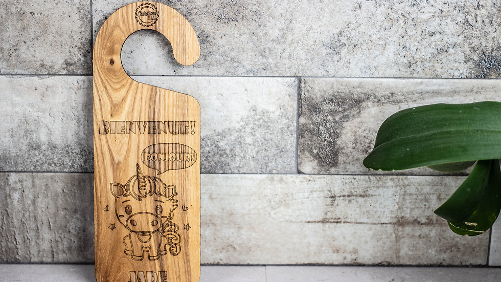Personalized Wooden Door Hanger -Unicorn