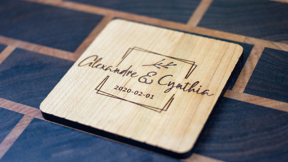 Personalized Wooden Coasters - Wedding - Traditional 03
