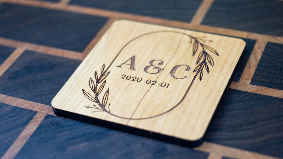 Personalized Wooden Coasters - Wedding - Traditional 01