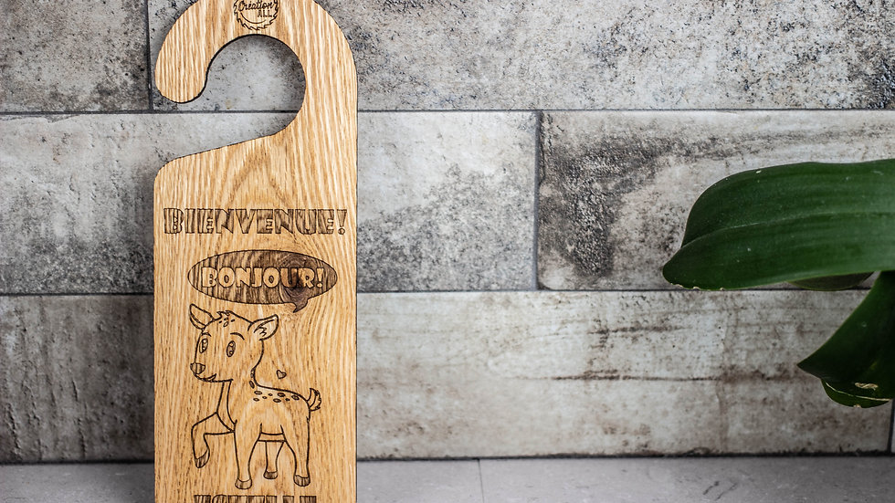 Personalized Wooden Door Hanger -Deer