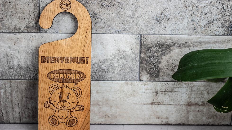 Personalized Wooden Door Hanger - Bear