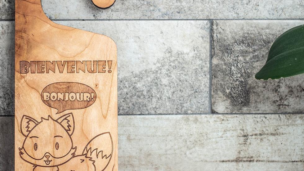 Personalized Wooden Door Hanger - Fox