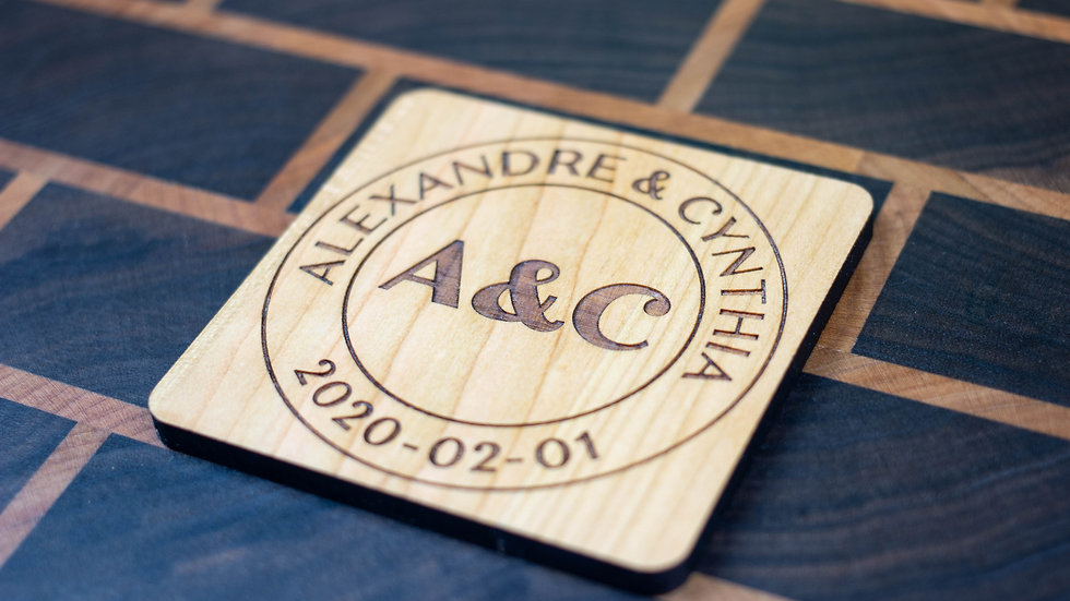 Personalized Wooden Coasters - Wedding - Modern 02