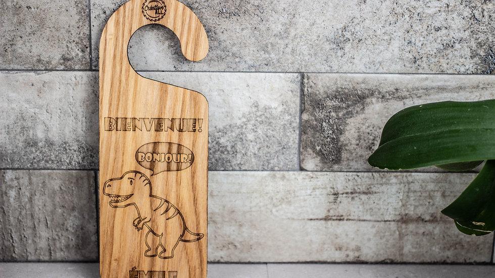 Personalized Wooden Door Hanger - T-Rex
