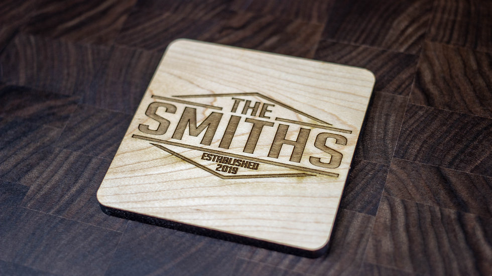 Personalized Wooden Coasters - Family Name - Retro 02