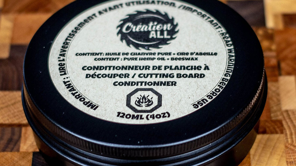 4 Oz Cutting Board Conditioner (Pure Hemp Oil & Beeswax)