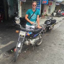 saying goodbye to Cheryl, the Honda Win that I drove up Vietnam