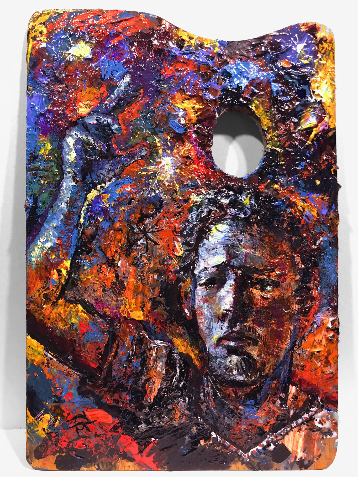"""Self-Portrait Painted on a Retired Palette at 2:30 A.M."""