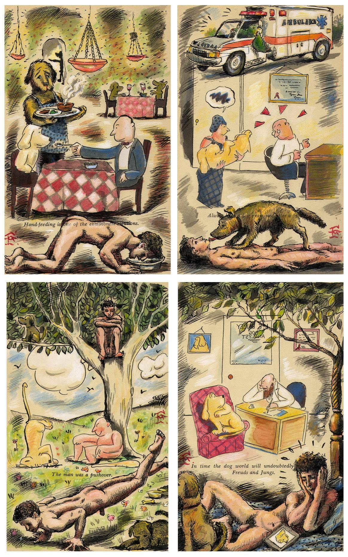 Embellished vintage Thurber pages