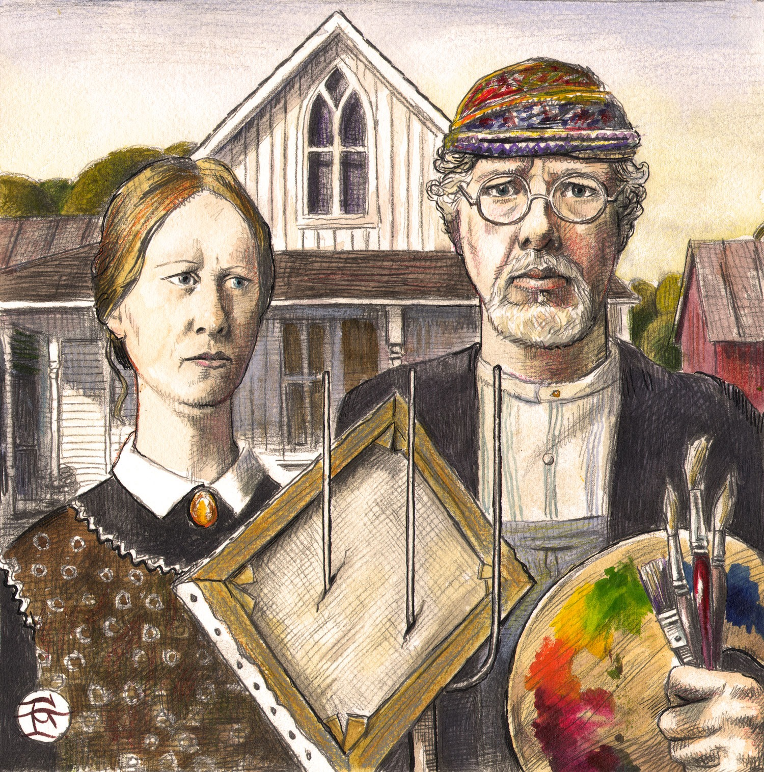 """Self-Portrait à la Grant Wood: An American Painter"""