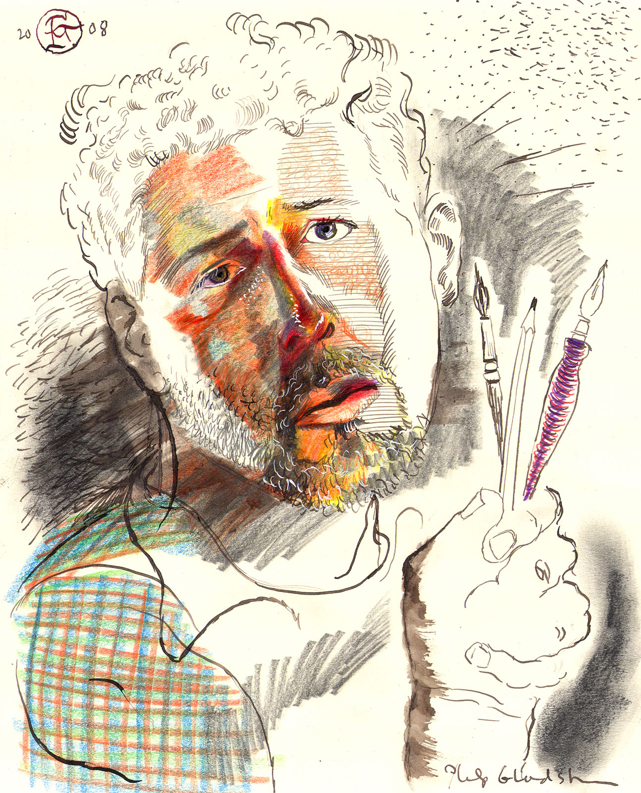"""Self-Portrait with Drawing Tools"""