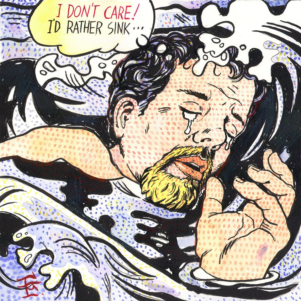 """Self-Portrait à la Lichtenstein: I'd Rather Sink"""
