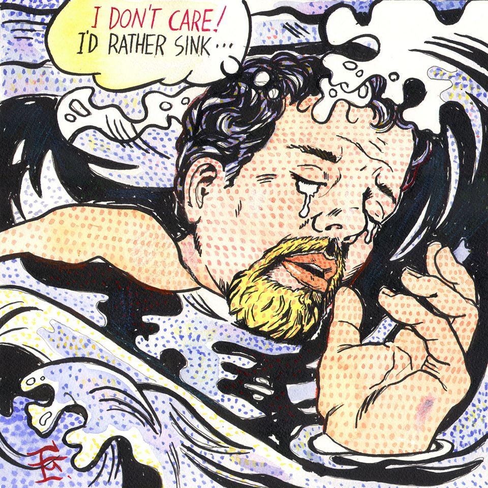 """""""Self-Portrait à la Lichtenstein: I'd Rather Sink"""""""