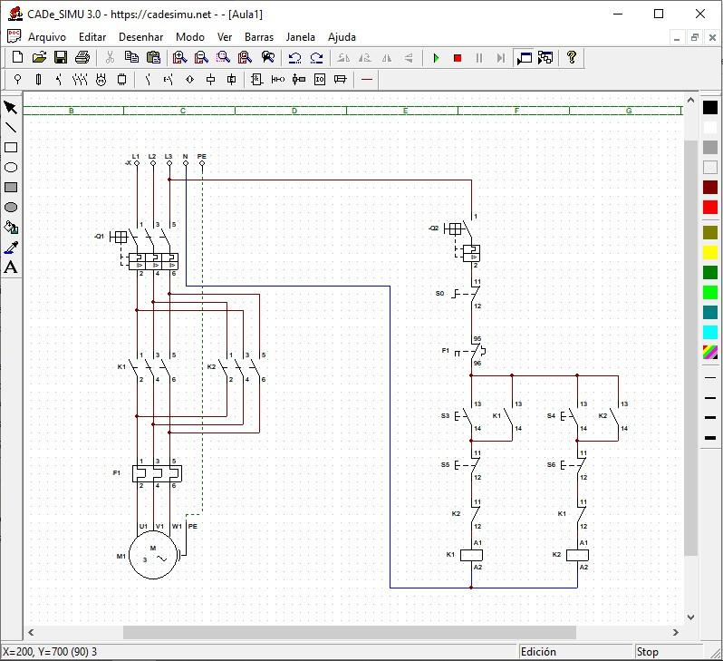Diagrama elétrico de partida direto e reversão de um motor trifásico