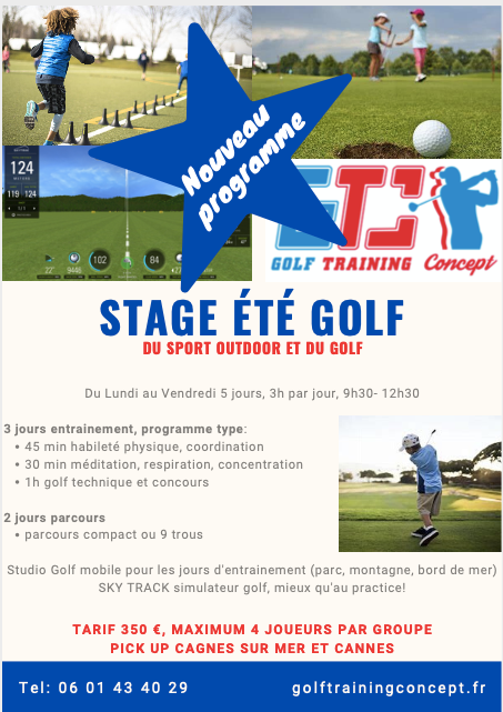 stage golf enfant, stage golf junior alpes maritimes, stage golf enfant sur Cannes