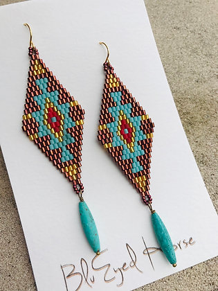Woven seed Bead Earrings 11041