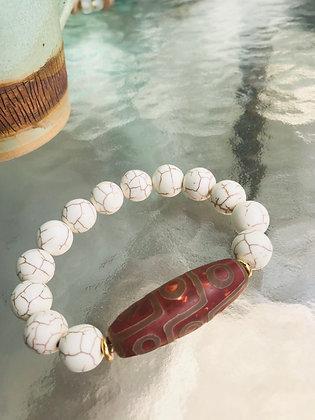 White Turquoise & Tibetan Agate 8309