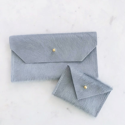 Slate Blue Envelope Clutch