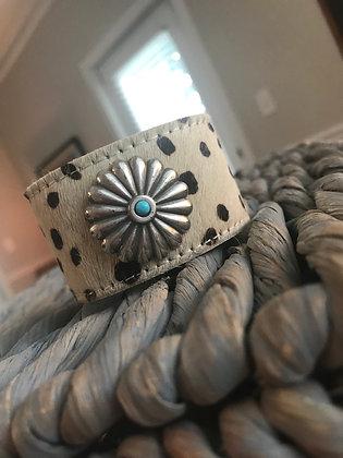 Cheeta Print Cowhide Cuff & Concho
