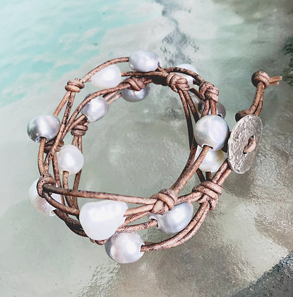 Silver & White Pearl Wrap