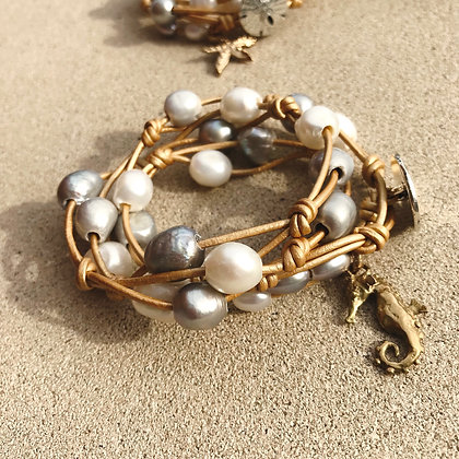Gold Leather, Pearls & Bronze Seahorse  2318