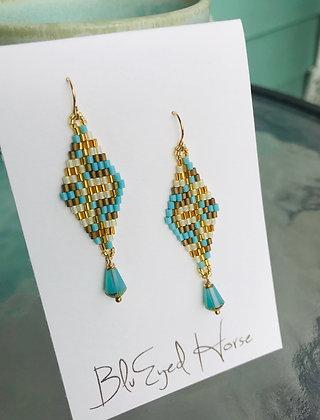 Aqua & Gold Woven Beads