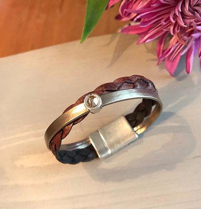 Bronze & Braided Leather Bracelet